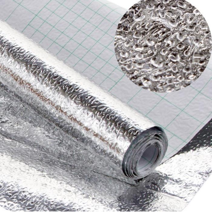 Feuille d'argent papier-cuisine autocollants auto-adhésifs cuisine feuille d'aluminium huile preuve étanche cuisinière 0,4x3m