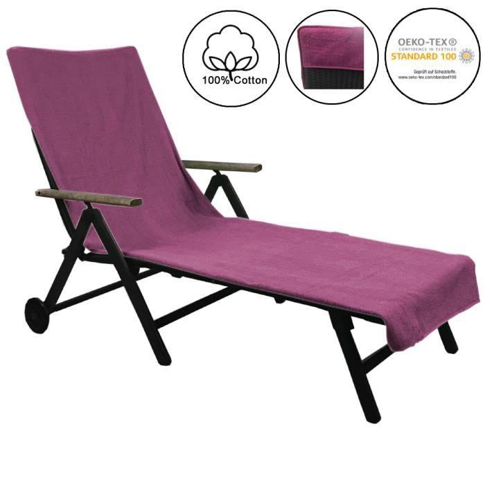 Serviette de plage pour chaise longue de plage et de jardin 75 x 200 cm - Housse de bain de soleil antidérapante 100% coton - LILA