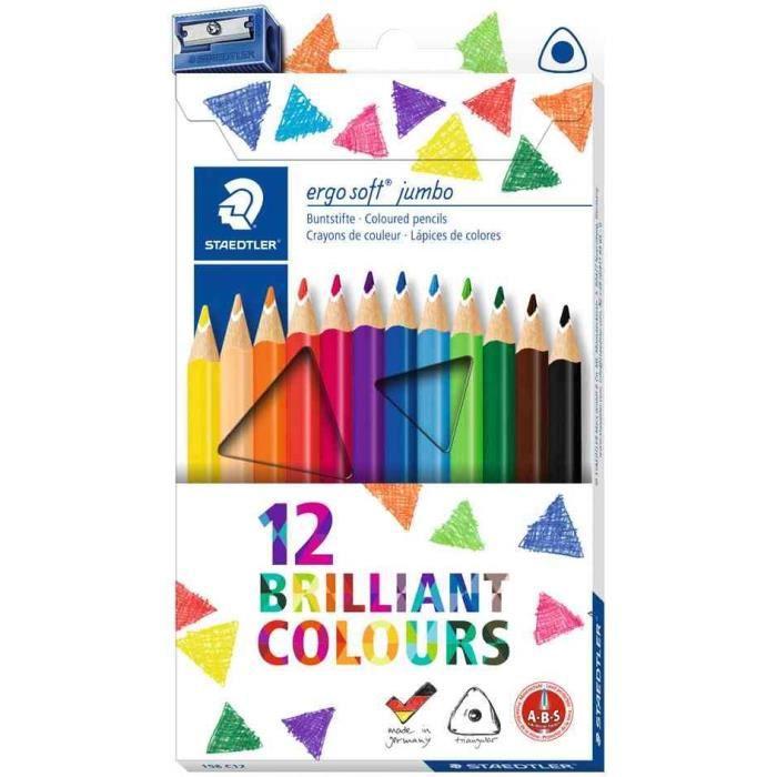 étui de 12 crayons de couleur triangulaire ergosoft jumbo
