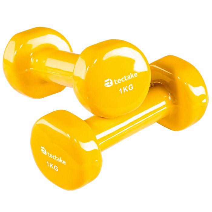 TECTAKE 2 Haltères de Musculation 1 kg en Vinyle Jaune