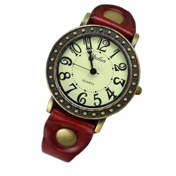 Montre bracelet Bijou femme Cuir Coton Femme Rouge Rond chiffres arabes Boucle Ardillon homme mixte wz-M0037