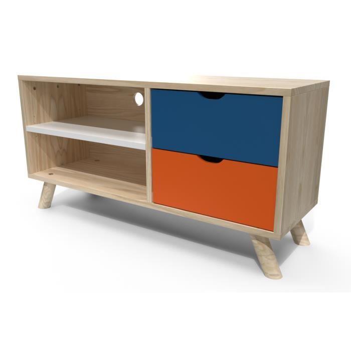 Meuble Tv Scandinave Viking Bleu Pétrole Orange Blanc Bleu Pétrole Orange Blanc