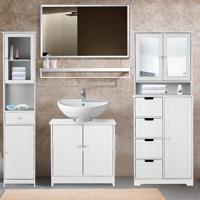 IKayaa Meuble sous lavabo salle de bain Meuble de Rangement sous Vasque en MDF Armoire avec ...
