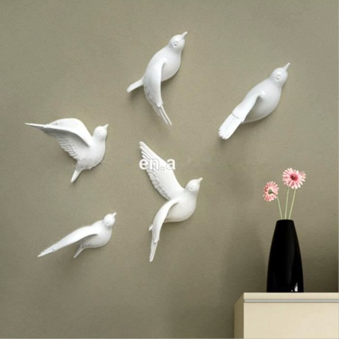 5pcs blanc r sine 3d arts et m tiers oiseau d coration for Decoration murale oiseau 3d
