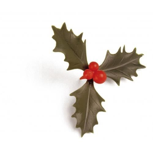 100 feuilles de houx triple vert decoration noel achat for Achat decoration de noel