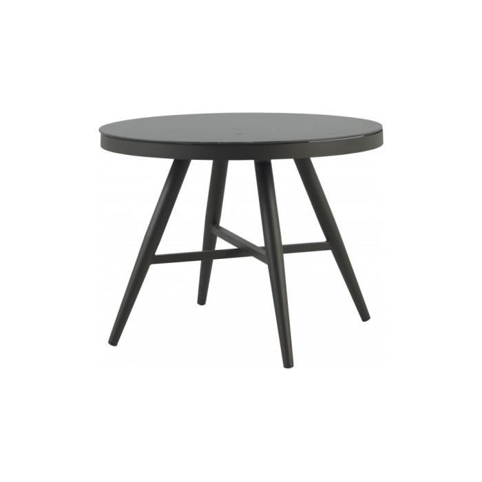Table ronde aluminium gris plateau verre tremp 100 achat vente table de - Plateau de table en verre trempe ...