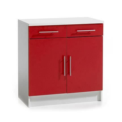 meuble bas de cuisine 2 portes 2 tiroirs rouge achat. Black Bedroom Furniture Sets. Home Design Ideas