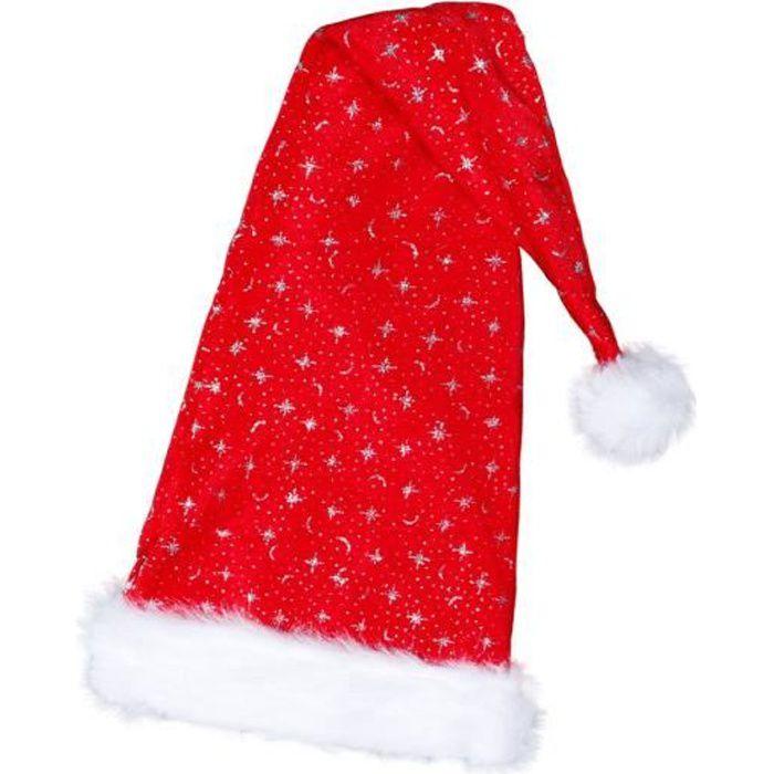 Bonnet de Noël long environ 90 cm lux très classe en tissus velours rouge wm-35