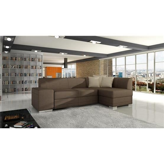 canap d 39 angle convertible s ville tissu marron clair. Black Bedroom Furniture Sets. Home Design Ideas