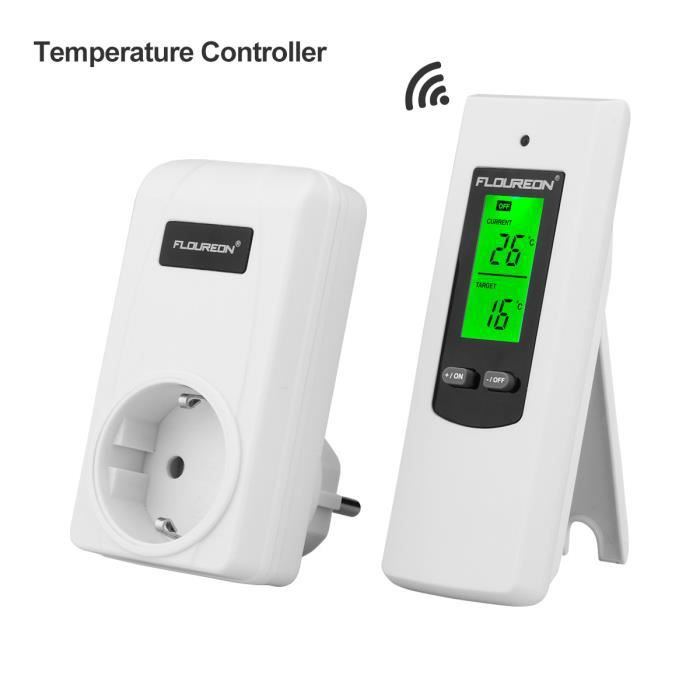 floureon thermostat sans fil prise automatique de contr le de la temp rature t l commande avec. Black Bedroom Furniture Sets. Home Design Ideas