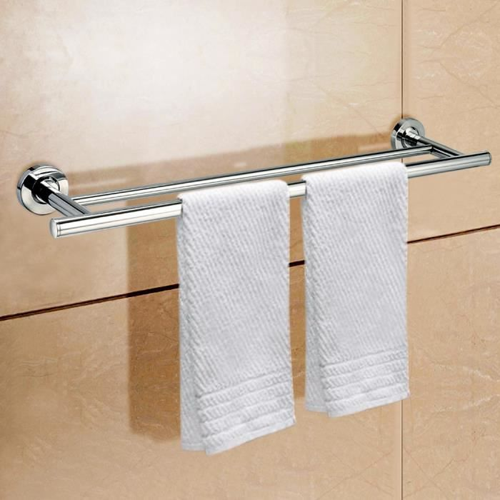 Porte serviettes acier inoxydable mural salle de bain rail for Rack porte serviettes bain
