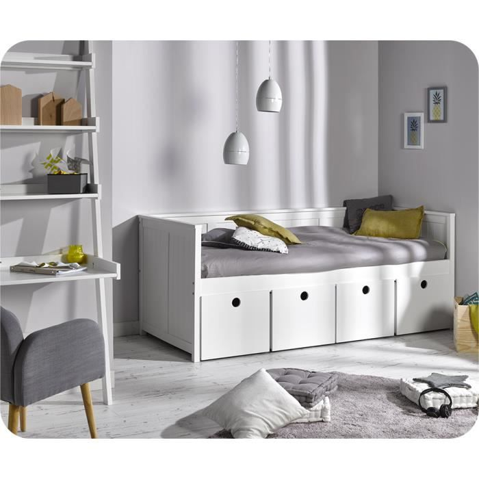 lit enfant blanc avec rangement 90x200 achat vente lit. Black Bedroom Furniture Sets. Home Design Ideas