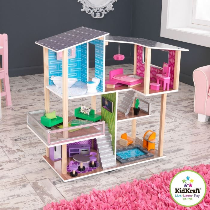 kidkraft maison de poup es contemporaine 0706943658222. Black Bedroom Furniture Sets. Home Design Ideas