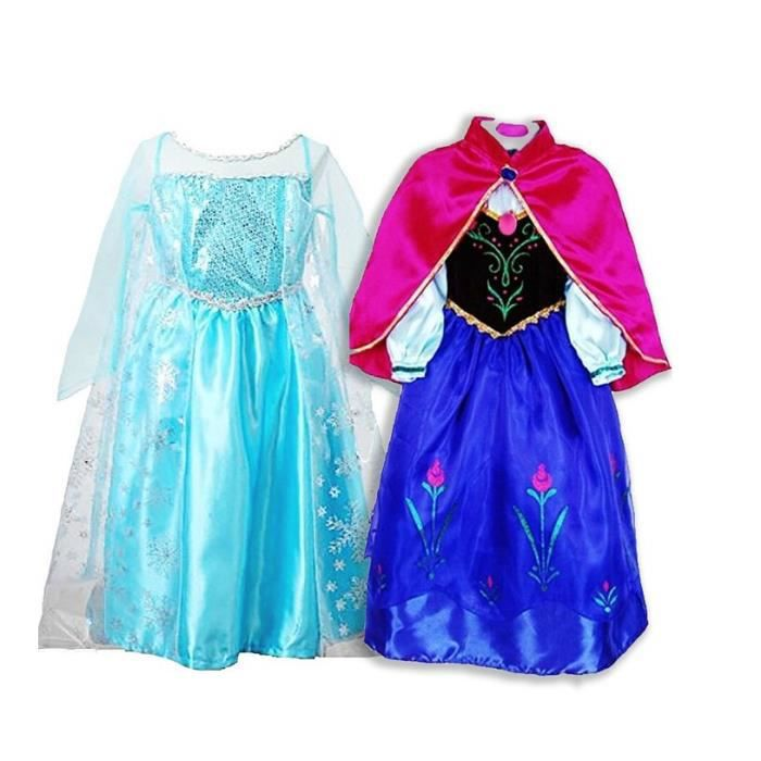 deux robe elsa anna d guisement reine neiges deux robes costume de reine des neiges pour enfants. Black Bedroom Furniture Sets. Home Design Ideas