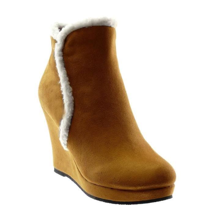 Mode tendance neige Talon Intérieur Fourrée bottes Angkorly bottine Chaussure CM 10 de femme fourrure compensé Camel mOv8n0NwPy