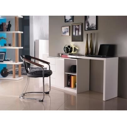 bureau extensible pavel mdf laqu blanc achat vente bureau bureau extensible pavel mdf. Black Bedroom Furniture Sets. Home Design Ideas