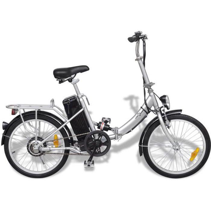 VIDAXL Vélo électrique pliable en alliage d'aluminium et batterie lithium-ion
