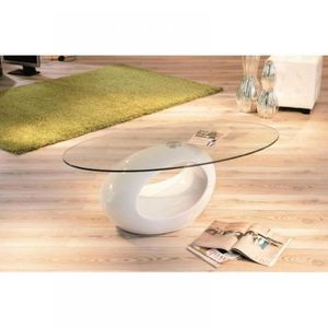 table basse ovale blanche achat vente table basse. Black Bedroom Furniture Sets. Home Design Ideas