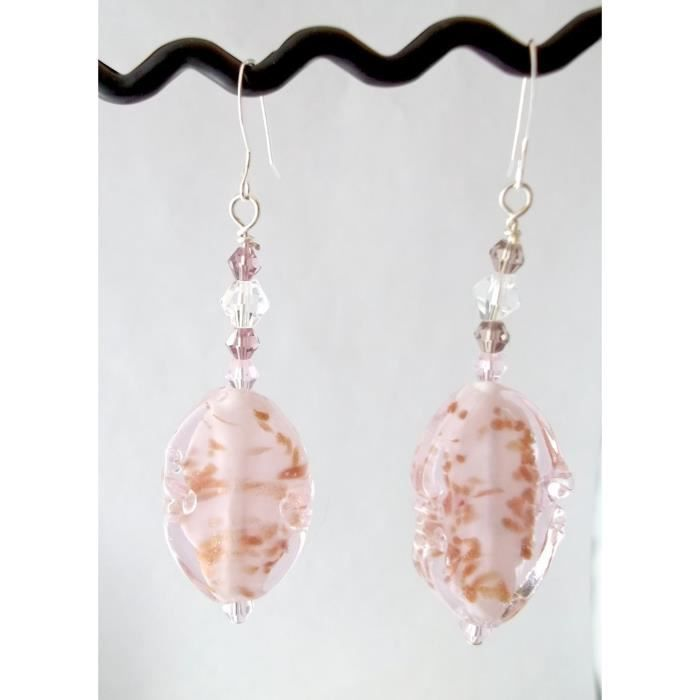 Womens Pink Oval With Gold Accents Lampwork Dangle Earrings AN33D