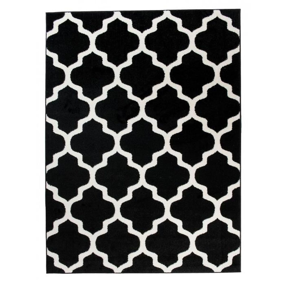 tapis de salon chambre noir blanc motif oriental avec. Black Bedroom Furniture Sets. Home Design Ideas