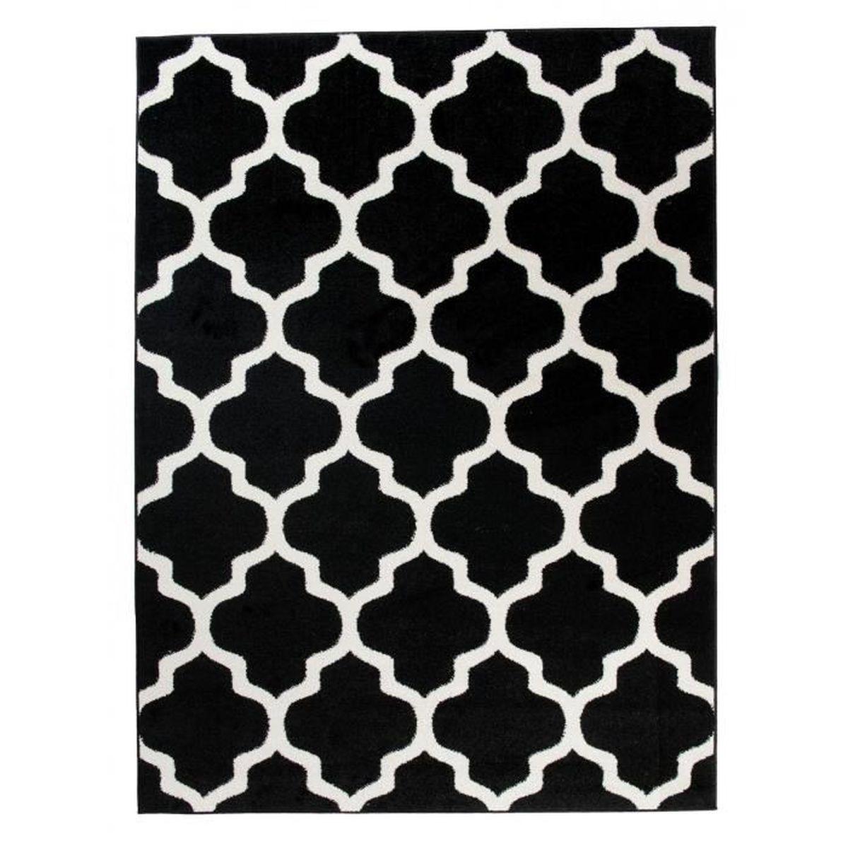 Chambre Noir Blanc Et Or tapis de salon chambre - noir blanc - motif oriental avec un