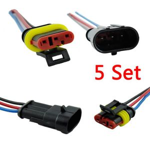 e ting 5 pi ces 3 way auto plug connecteur tanche lectrique avec fil awg achat vente. Black Bedroom Furniture Sets. Home Design Ideas