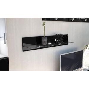 ETAGÈRE MURALE Etagère laquée noir  en bois et verre  98 cm avec