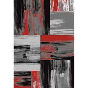 TAPIS Tapis de salon Lima rouge, gris et noir