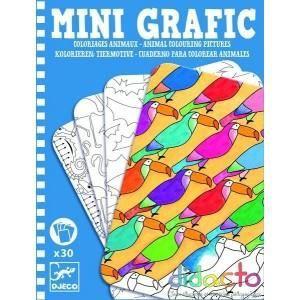 JEU DE COLORIAGE - DESSIN - POCHOIR DJECO - Mini Grafic Coloriages animaux ( DJ-5382 )