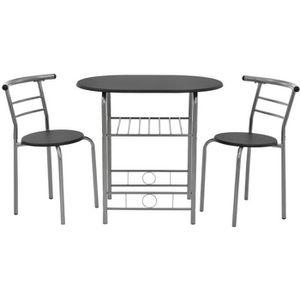 TABLE DE CUISINE  [en.casa]® Set de salle à manger table avec 2 chai