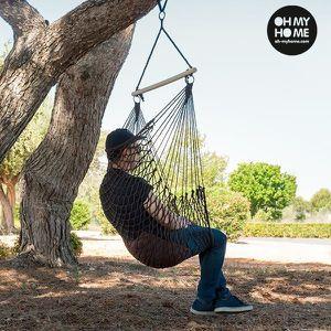HAMAC Chaise à suspendre faite en corde avec coussin - H
