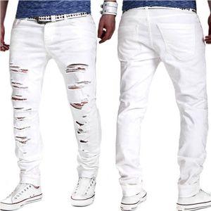 Hommes Denim Jeans Super Stretch Skinny Jeans Chaud Nouveau Denim Distressed Distressed Pantalons Nouvelle Mode Beau Cool