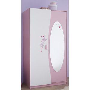 ARMOIRE Armoire enfant 2 portes + miroir, Coloris rose ...