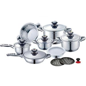 batterie faitout casserole poele vapeur 16 pieces inox. Black Bedroom Furniture Sets. Home Design Ideas