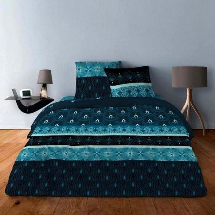 Housse de couette Art deco bleu 240x260 + 2 taies carrées 65x65