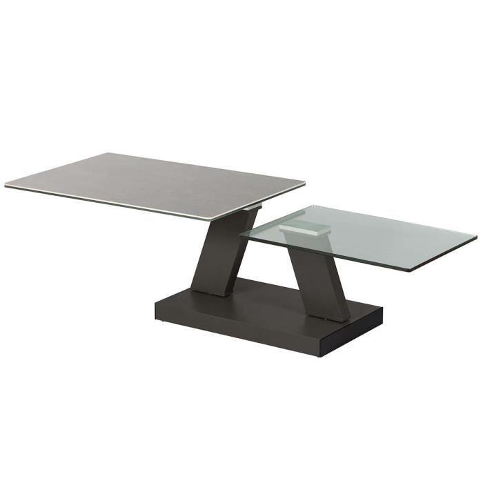 Zehra - Table Basse Plateaux Verre Gris Ardoise