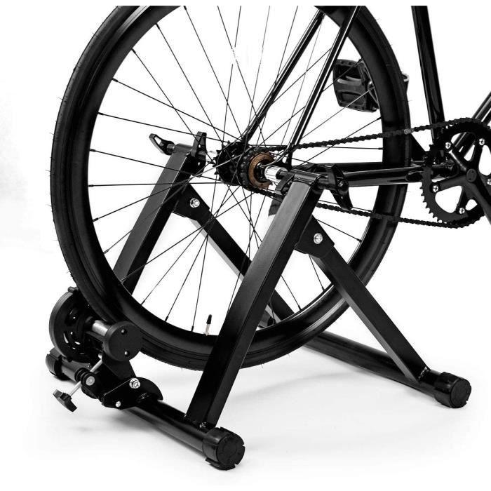 Magnétique Home Trainer Vélo Turbo pour Vélo Pliable Noir en Acier avec Accessoires d'Installer Charger Max 150KG