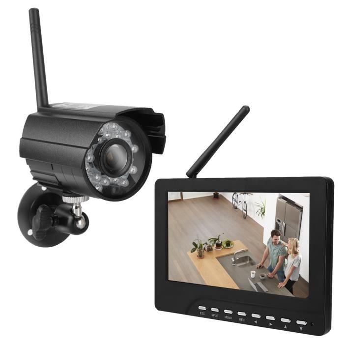 7 Système de vidéosurveillance avec caméra de surveillance vidéo sans fil à moniteur tactile HD_SEC