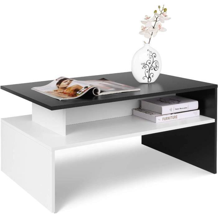 Table Basse de Salon Design Table de Salon en Bois Moderne avec Rangement 90x50x43cm (Noir et Blanche)[25]