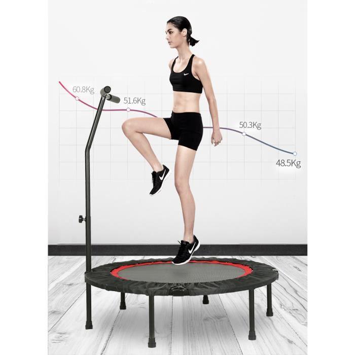 WISS Mini Trampoline Fitness Bungee avec la poignée pour Adultes et Enfants Ø 100 cm élastiques Bungee Noir