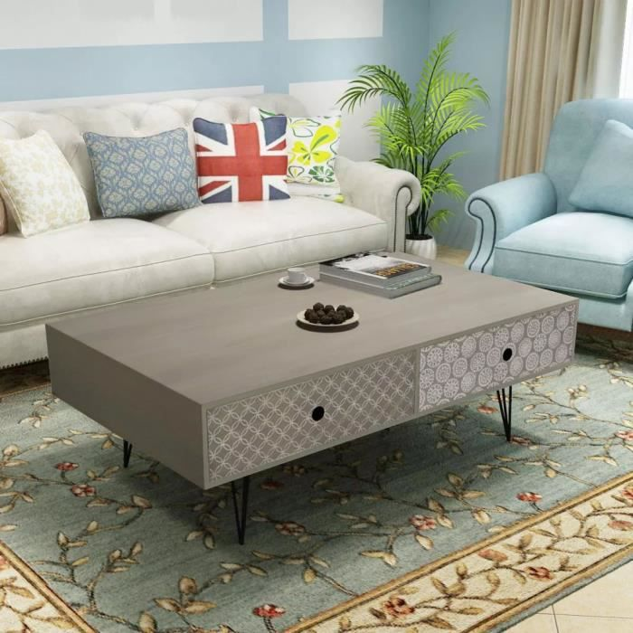 Table basse 100 x 60 x 35 cm gris Avec 4 tiroirs(47,2x25,8x13 cm)
