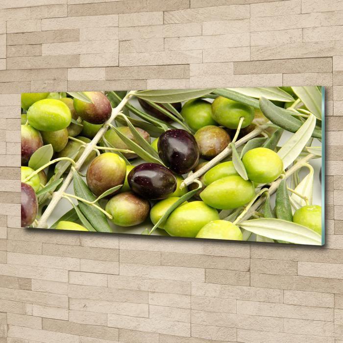 Tulup 125x50cm Tableau sur verre acrylique- Nourriture boissons - Olives Fraîches - Vert