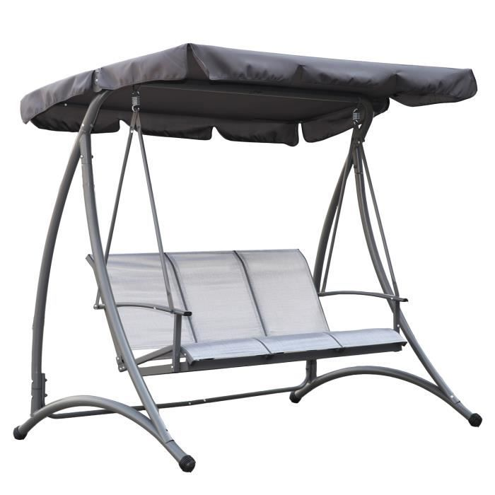 Angel Living 5861000 - Balancelle 3 places d'extérieur en textilène à suspendre pour jardin ou terrasse