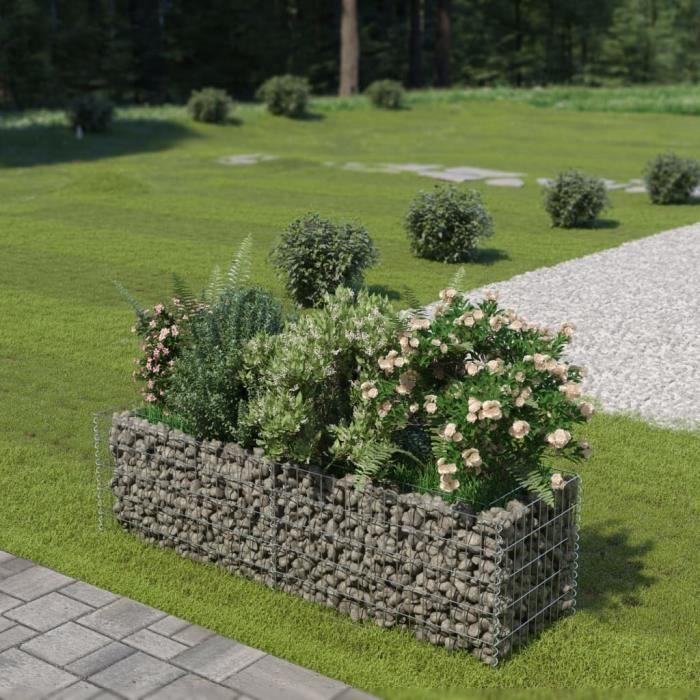 🕊8240 Lit surélevé à gabion - Bac à Fleur Jardinière Balcon ou Terrasse - Acier galvanisé 180x50x50 cm
