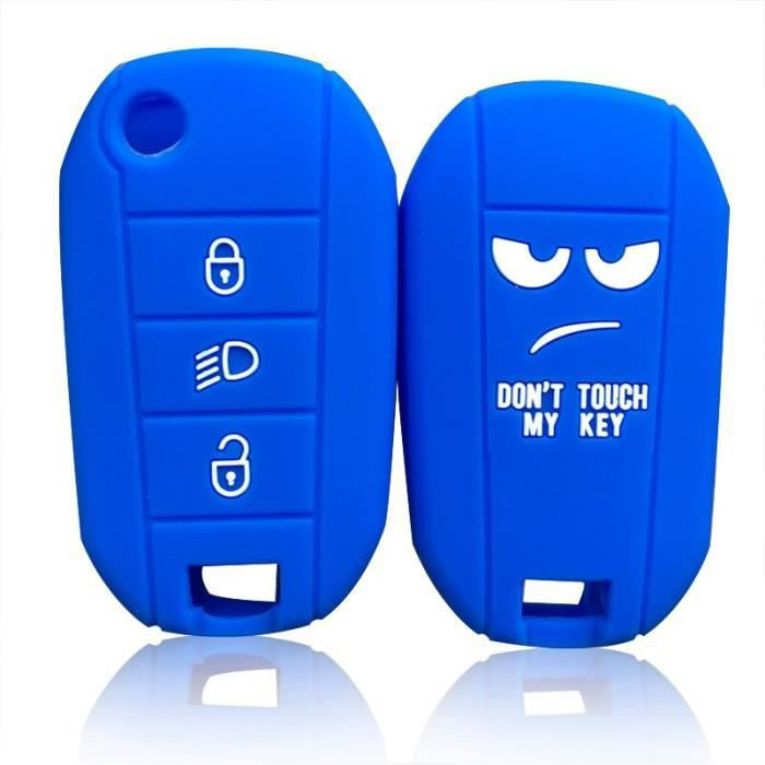 Couverture de clé de voiture, couverture de clé de voiture, support pour Peugeot 3008 208 308 RCZ 508 blue