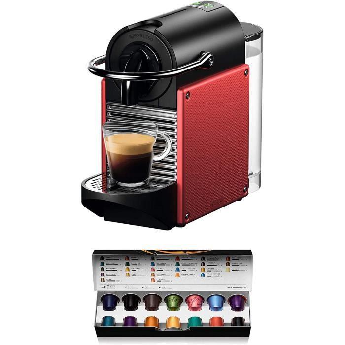 Nespresso De'Longhi Pixie EN124 - Cafetière à dosettes, 19 bars, réservoir à eau de 0,7 L, arrêt automatique rouge