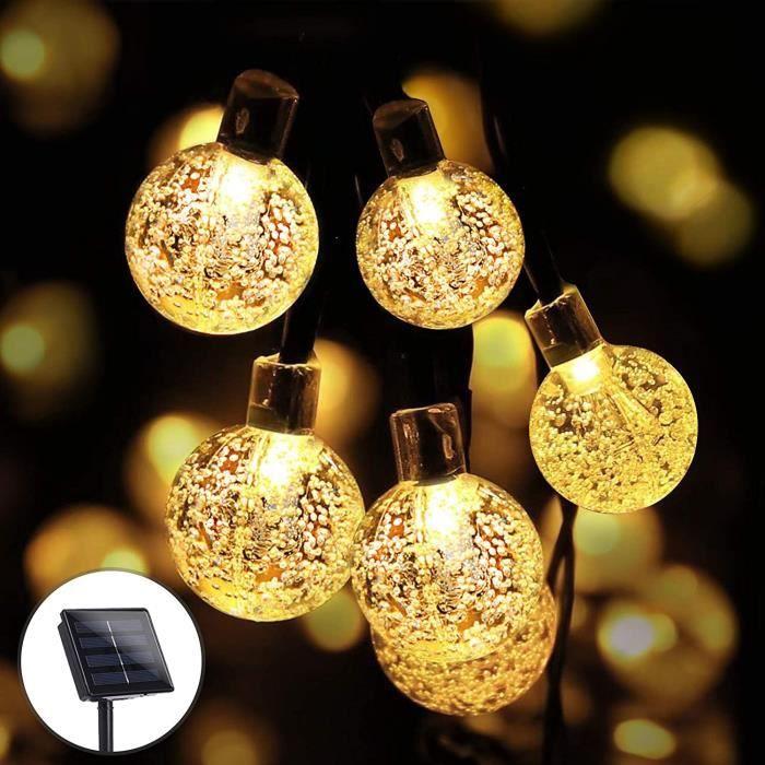 GUIRLANDE LUMINEUSE INTERIEURE 100 LED Guirlande Lumineuse Solaire Exterieur, KNMY 12M Guirlandes Lumineuses Boules Cristal avec786