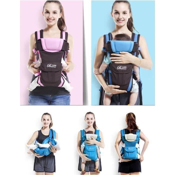 KH Nouveau-né Porte bébé réglable Sling Wrap Baby Carrier sac à dos pour BéBé 0-2 ans - Bleu