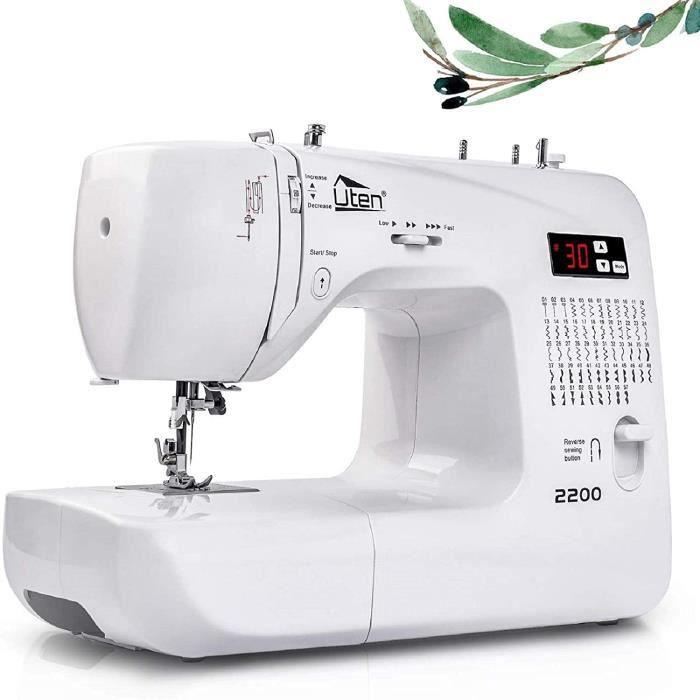 Uten Machine á Coudre Électronique avec 60 Points de Couture,LED Écran Multifonctions,Enfile-Aiguille Automatique,Coud sur Tous Les
