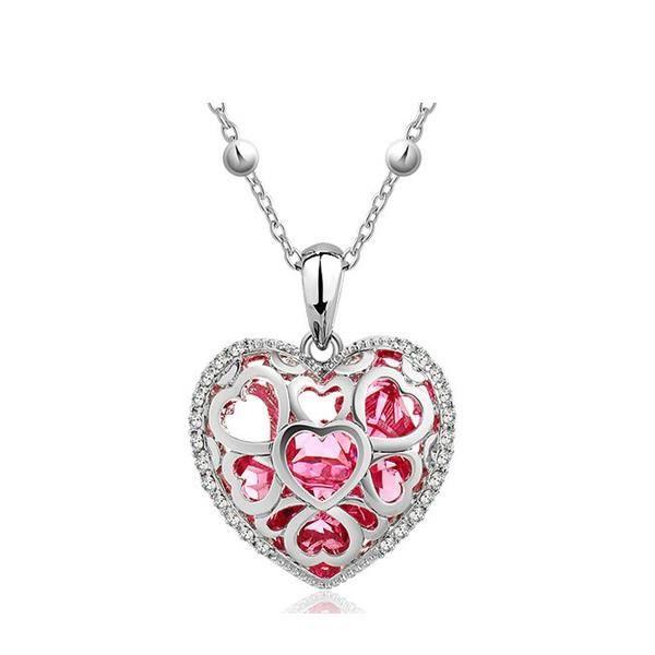 Pendentif Coeur Rose en Cristal de Swarovski Elements et Plaqué Rhodium
